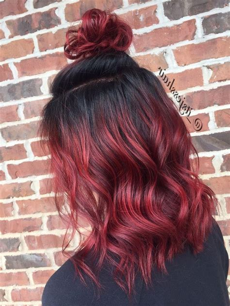 collection  long hairstyles red ombre