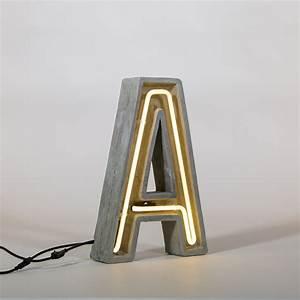 Lampe De Table Exterieur : lampe de table n on alphacrete lettre a int rieur ~ Dailycaller-alerts.com Idées de Décoration