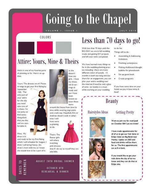 bridesmaid newsletter template pin sle newsletter templates indesign cake on
