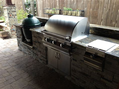 outdoor kitchen with big green egg a big green egg giveaway 2014 by outdoor homescapes of houston 9025
