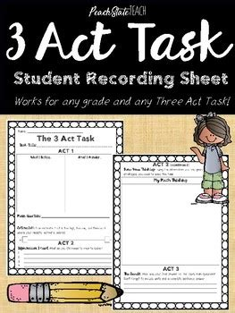 three act task student recording sheet by state teach tpt