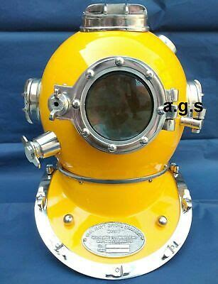 antique yellow diving helmet  navy mark  boston scuba