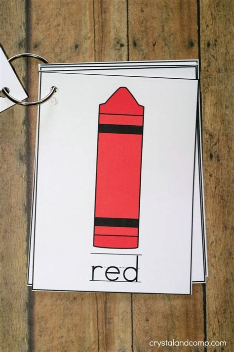 printable color flash card flip book teaching colors
