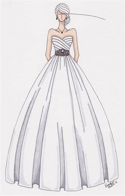 drawn wedding dress party dress pencil   color