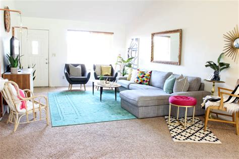 colorful mid century glam living room makeover clutter