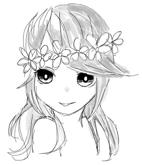 Simple Girl Flower Crown Drawing