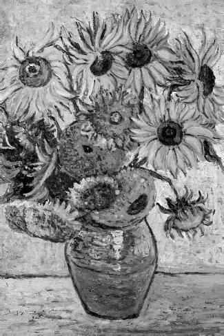 Vincent Van Gogh Vase Twelve Sunflowers Black White Art