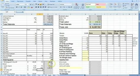cost estimating sheet  excel   general