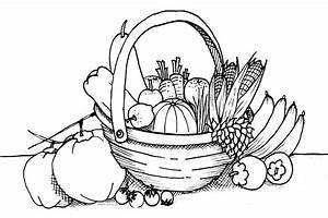 Fruits & Vegetables clipart basket drawing - Pencil and in ...