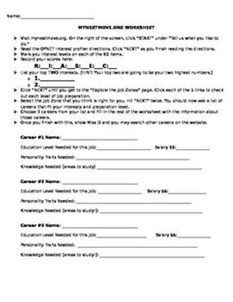 Career Exploration Worksheet And Webquest This Worksheet Is To Be Used With Mynextmoveorg My