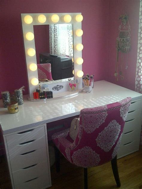 makeup vanity table with lights and mirror rustic vanity makeup table with white trifold mirror and