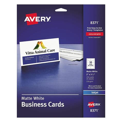 avery business card template 2 x 3 5 avery two side printable business cards inkjet 2 x 3 1 2