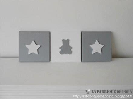chambre bebe theme etoile triptyque 20x20 thème etoile et ourson gris blanc déco