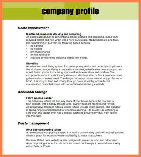 company profile format template company letterhead