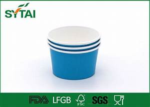 Biodegradable Blue Paper Ice Cream Cups , PE Coated Materials