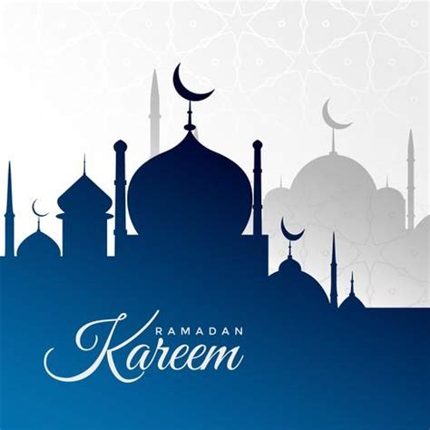 ramadan kareem background  blue mosque silhouette   vector art stock graphics