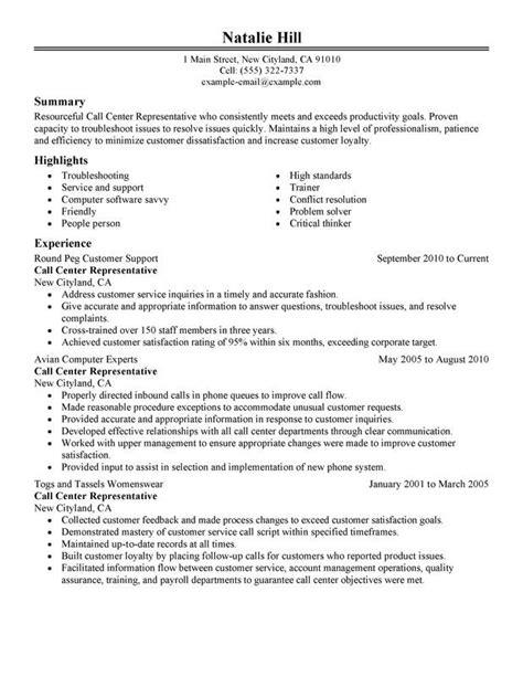 call center representative resume sample good resume
