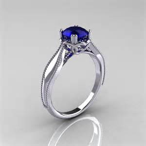 blue sapphire engagement rings white gold classicengagementring nouveau 14k white gold 1 0 ct blue sapphire engagement ring