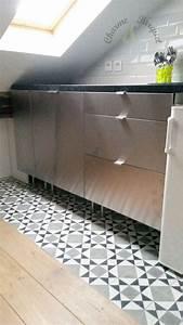 idee relooking cuisine carreaux de ciment dans une With charme et parquet