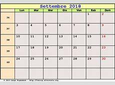 Calendario Settembre 2018 PDF Equinozio di autunno,