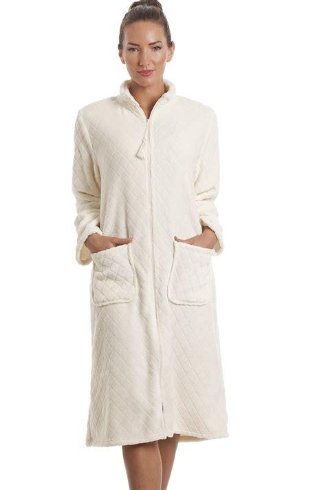 fleece ivory zip front house coat