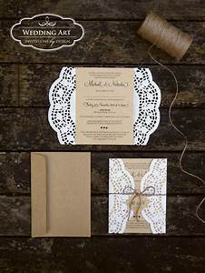 gorgeous rustic wedding invitations printed on kraft card With wedding invitations using paper doilies