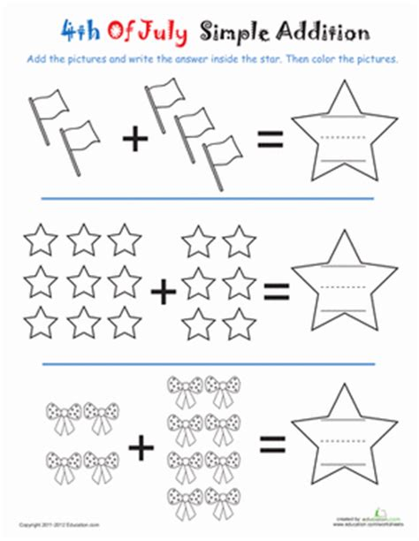 addition 4th of july worksheet education