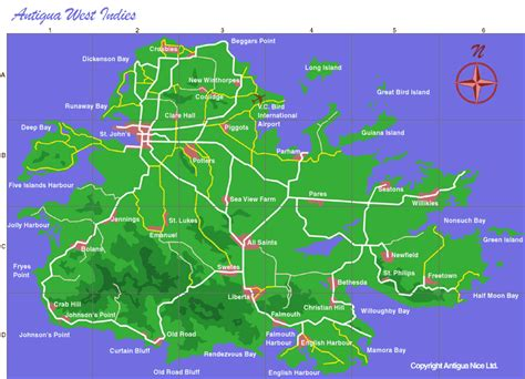 antigua map maps island google area antiguanice caribbean jolly bay west harbour stay including indies there print v2 villas
