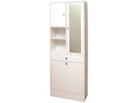 armoire salle de bain avec bac 224 linge et miroir wave coloris blanc conforama