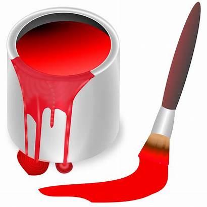 Paint Clipart Bucket Brush Colors Painting Rojo