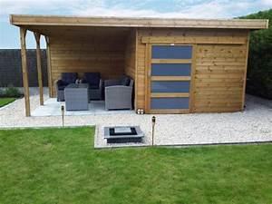 Abri De Jardin Avec Bucher : tuinhuis met schuifdeur plat dak en overdekt terras ~ Dailycaller-alerts.com Idées de Décoration