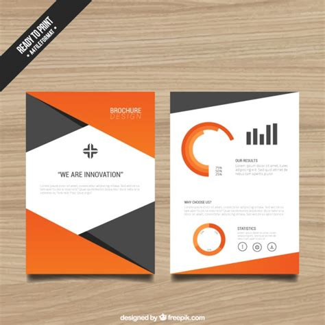 Template Brochure Free by Brochure Template With Orange Elements Vector Free