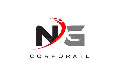 Ng Modern Letter Logo Design With Swoosh Stock Vector