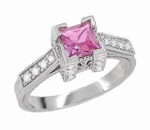 Art deco 3 4 carat princess cut pink sapphire and diamond for Princess cut pink diamond wedding rings