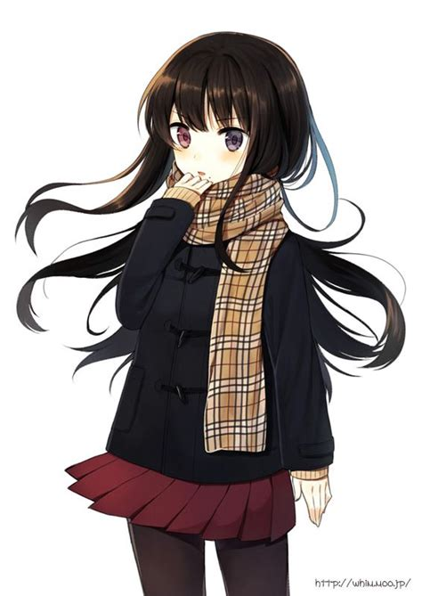 anime girl  black hair red eyes blue eyes coat