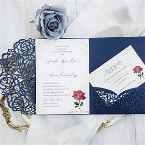 beauty and the beast navy blue laser cut pocket wedding With diy beauty and the beast wedding invitations