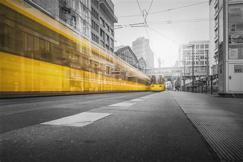 selective color photography  yellow train