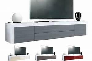 Meuble Tv Blanc Laqué : meuble tv design laqu blanc 200 cm topaze cbc meubles ~ Teatrodelosmanantiales.com Idées de Décoration