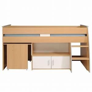 Lit Combiné Bureau : lit combin avec bureau gabriel 90x200cm marron ~ Premium-room.com Idées de Décoration