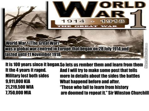 world war 1 the great war 100th anniversary by recyclebin meme center