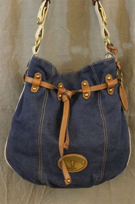 fossil long  vintage  blue jean drawstring snap