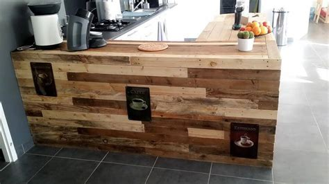 Pallet Kitchen Counter with Breakfast Table & Storage