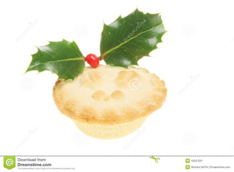 Mince Pie Decorated With Holly Stock Image