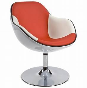 fauteuil design kok pivotant blanc et rouge With fauteuil salon design pivotant