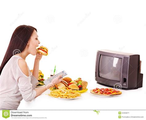 cuisine tv fast food and tv stock image