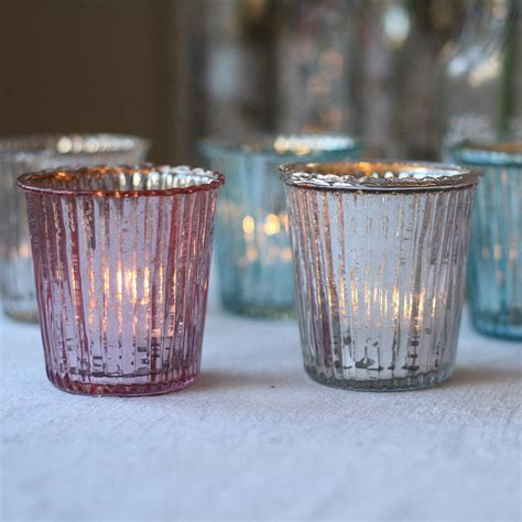 ribbed mercury glass tea light holder by the wedding of my