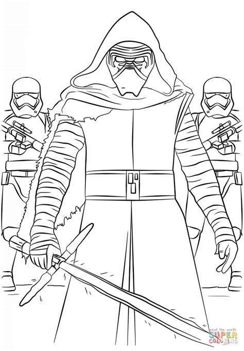 Kylo Ren Kleurplaat by Kylo Ren En De Order Stormtroopers Kleurplaat