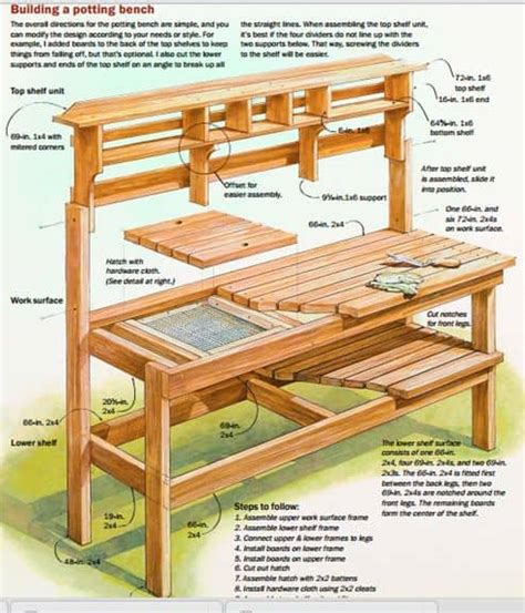 beautiful garden potting bench plans ideas family food