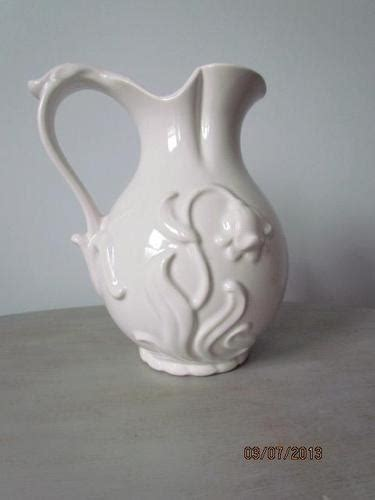 large vintage royal haeger pottery white pitcher raised