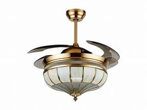 Noble decorative retractable lighting ceiling fan with